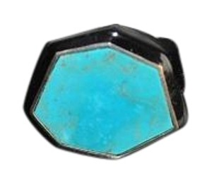 Ippolita turquoise blackresin sterling silver ring size 6 STATEMENT