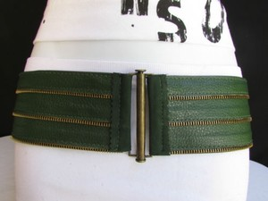 Women Hip Waist Elastic Green Fashion Belt Gold Buckle Zipper 31-36 Ml