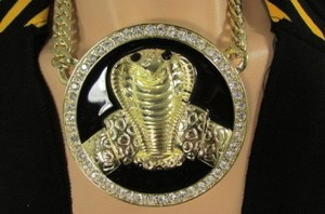 Other Men Gold Metal Black Huge Cobra Snake Fashion Necklace Big Pendant