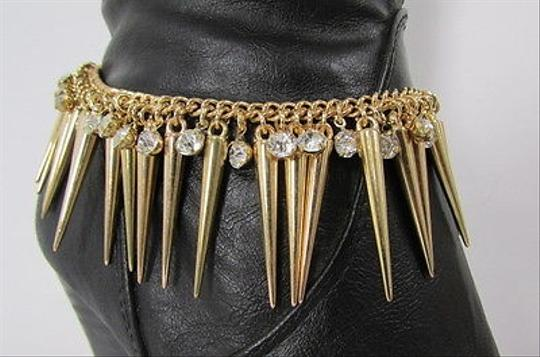 Other Women Gold Metal Boot Chain Strap Multi Spikes Silver Rhinestone Shoe Charm