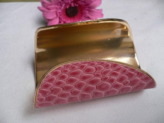 Other Women Gold Metal Snake Bracelet Pink Color Adjustable Oval Cuff