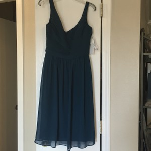 David's Bridal Peacock Short Chiffon V-neck Dress With Ruching Dress