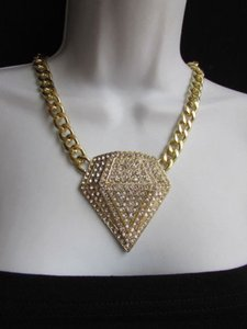 Women Gold Thick Metal Chunky Chain Jewel Diamond Shape Pendant Fashion Necklace