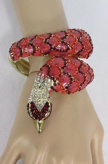 Other Women Gold Cuff Fashion Metal Bracelet Red Big Peacock Beads Rhinestones