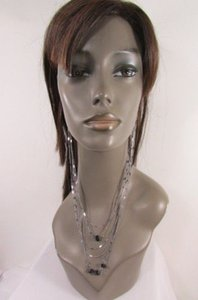 Other Women 10 Long Pewter Metal Chains Fashion Earrings Connected Necklace Beads