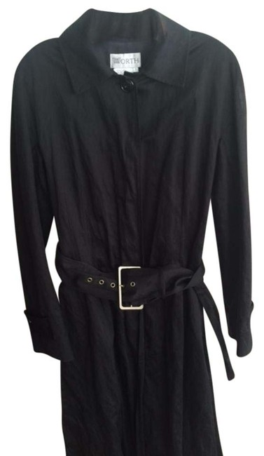 Worth Black Womens Casual Belted Jacket Coat Size 6 (S) Worth Black Womens Casual Belted Jacket Coat Size 6 (S) Image 1