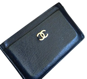 Chanel Chanel Navy Leather Card Case