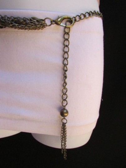 Other Women Dark Gold Rusty Silver Multi Metal Chains Fashion Belt 28-44