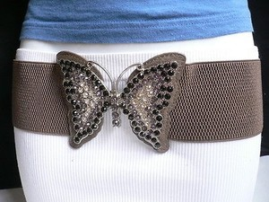 Other Women Hip Elastic Waist Dark Gray Fashion Belt Big Butterfly 28-41 S-xl