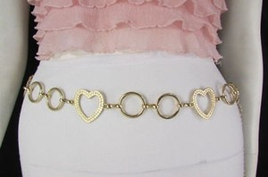 Other Women Big Heart Cutout Metal Chains Fashion Narrow Belt Hip Waist Gold