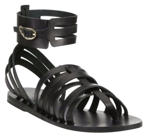 Ancient Greek Sandals Leather Gladiator Black Sandals