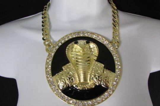 Other Women Gold Metal Thick Chains Black Big Cobra Snake Fashion Necklace Pendant