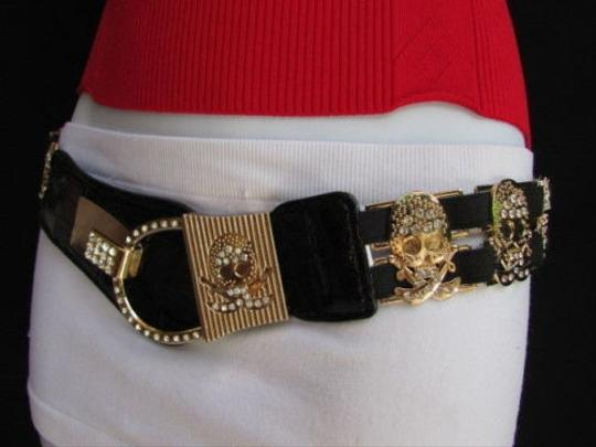Other Women Black Faux Leather Stretch Fashion Belt Gold Metal Skulls 29-42