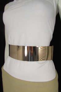 Other Women Gold Metal Plate Low Hip High Waist Fashion Belt Black 28-36