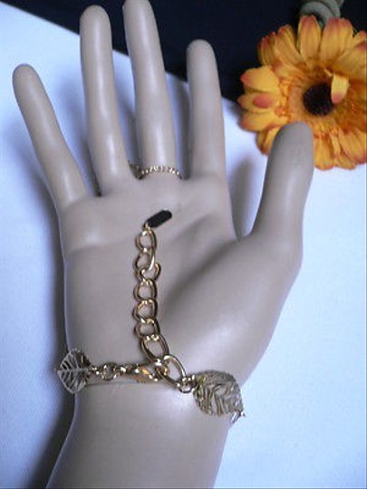 Other Women Gold Big Leaves Hand Links Chain Fashion Slave Bracelet Wrist To Ring