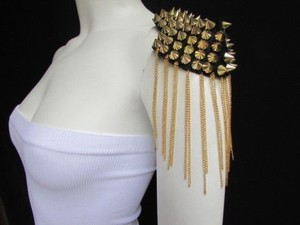 Women Body One Side 1 Shoulder Pin Broach Gold Chains Metal Spikes Jewelry