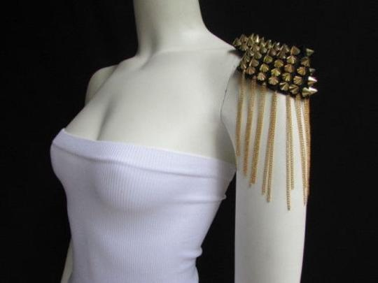 Other Women Body One Side 1 Shoulder Pin Broach Gold Chains Spikes