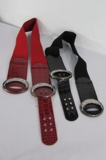 Other Women Hip Waist Elastic Fashion Black Red Belt Pewter Buckle 26-35