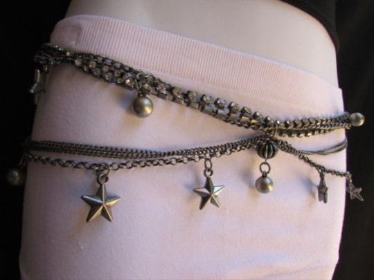 Other Women Pewter Waves Metal Chains Fashion Belt Multi Balls Stars 27-42