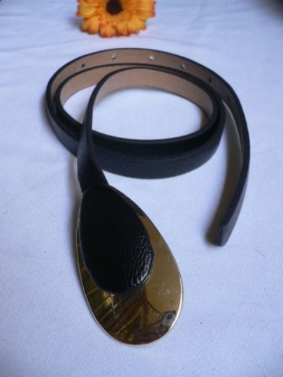 Other Women Retro Gold 70s Buckle Thin Black Faux Leather Belt Ml 33-39