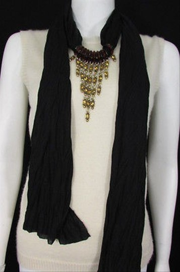 Other Women Black Soft Fabric Big Triangle Pendant Fashion Scarf Gold Rhinestones