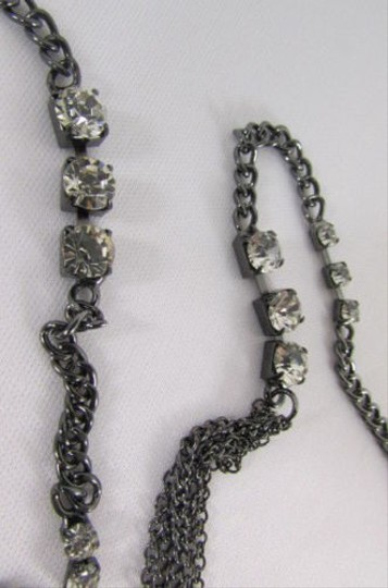 Other Women 17 Long Pewter Black Metal Chains Fashion Earrings Set Rhinestones