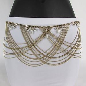 Other Women Metal Chain Fashion Hip Belt Waist Silver Gold Imitation Pearls