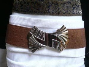 Other Women Hip Waist Elastic Brown Faux Leather Belt Metal Fan Buckle 27-33