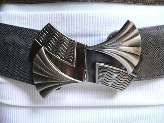 Other Women Fashion Belt Elastic Gray Color Faux Leather Bow Metal Buckle Image 1