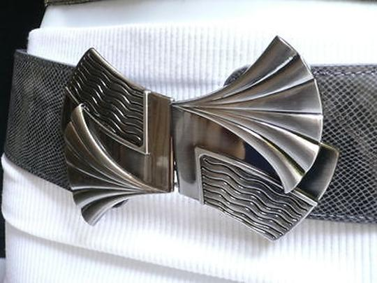 Other Women Fashion Belt Elastic Gray Color Faux Leather Bow Metal Buckle Image 3
