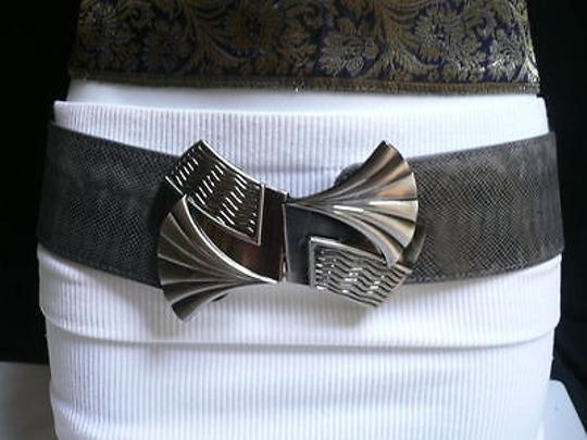 Other Women Fashion Belt Elastic Gray Color Faux Leather Bow Metal Buckle