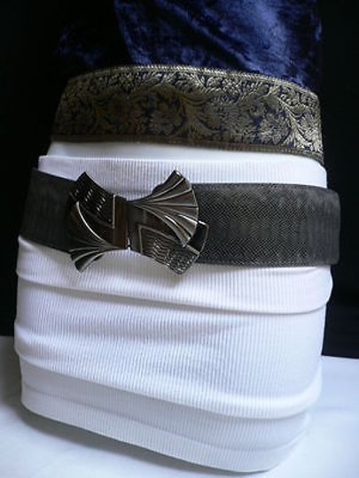 Other Women Fashion Belt Elastic Gray Color Faux Leather Bow Metal Buckle Image 9