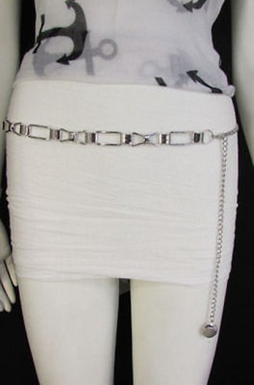 Other Women Silver Metal Belt Skinny Thin Bows Hip High Waist Image 11