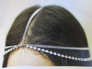 Other Women Silver Head Metal Chain Fashion Jewelry Grecian Two Rhinestones Strand