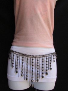 Other Women Dark Pewter Fashion Metal Long Chains Fashion Belt Balls 27-42