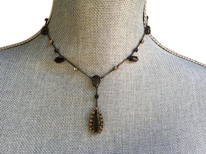 Bohm Bohm blackened metals lariat necklace with colored crystals