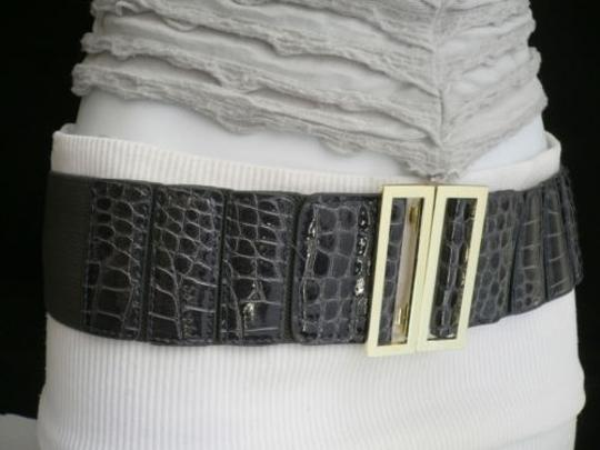 Other Women Wide Gray Faux Leather Crocodile Stamp Belt Gold Buckle 27-35