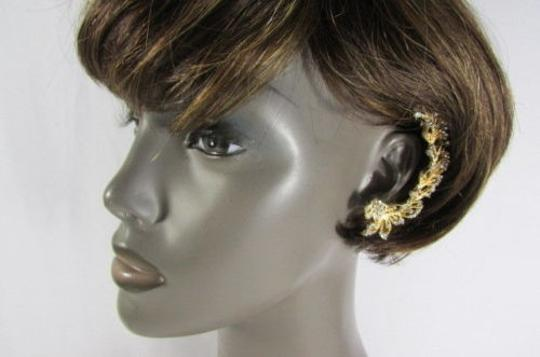 Other Women Gold Big Metal Flowers Fashion Ear Cuff Earrings Set Silver Rhinestone