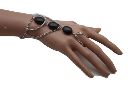 Other Women Silver Chains Metal Hand Bracelet Connected Black Beads