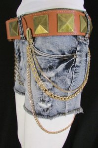 Women Gold Metal Wallet Chain Fashion Side Hips Belt Jean Key Garter Holder