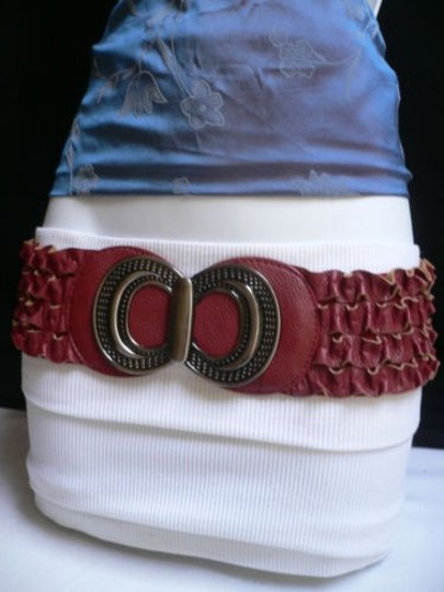 Other Women Hip Waist Elastic Red Ruched Fashion Belt Metal Buckle 27-37