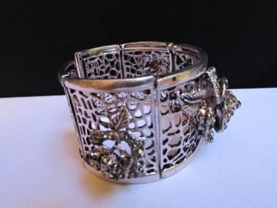 Other Women Silver Pewter Elastic Metal Roses Fashion Flowers Bracelet Rhinestones