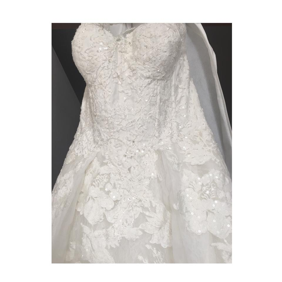 Oleg Cassini Solid Ivory Feminine Ball Gown Silhouette and Beaded ...