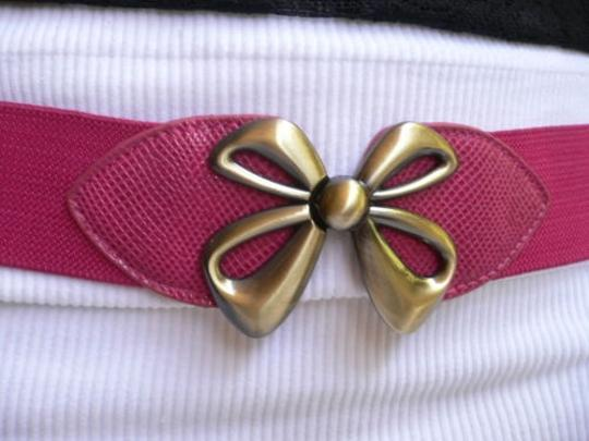 Other Women Elastic Hip Waist Pink Thin Belt Gold Bow Buckle