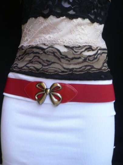 Other Women Elastic Hip High Waist Red Narrow Fashion Belt