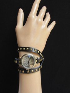 Women Watch Rusty Gold Black Faux Leather Wrap Around Fashion Bracelet