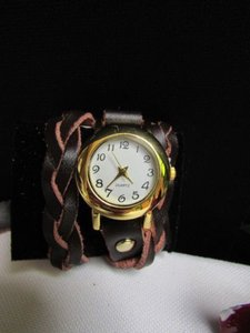 Other Women Gold Watch Faux Leather Dark Brown Wrap Around White Fashion Bracelet