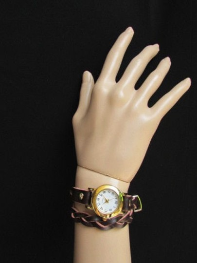 Other Women Gold Watch Faux Leather Dark Brown Fashion Bracelet Image 1
