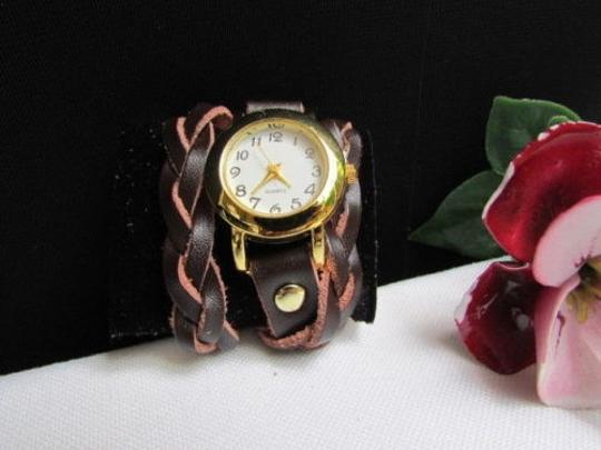Other Women Gold Watch Faux Leather Dark Brown Fashion Bracelet Image 10