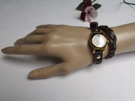 Other Women Gold Watch Faux Leather Dark Brown Fashion Bracelet Image 11